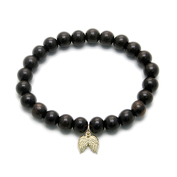 wood bracelet in ebony with gold dipped angel wings