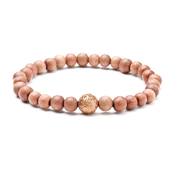 not to worry rose wood bracelet with rose gold dipped sparkle ball