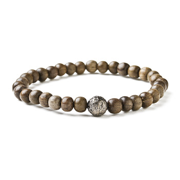 not to worry pebble wood bracelet with charcoal silver dipped sparkle ball