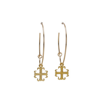 modern word faith gold dipped english cross hoop earrings