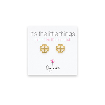 small english cross stud earrings, gold dipped