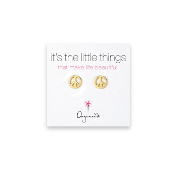 small peace sign stud earrings, gold dipped