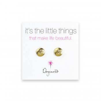 small sand dollar stud earrings, gold dipped