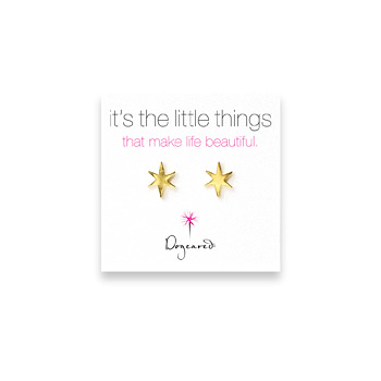 small bright star stud earrings, gold dipped