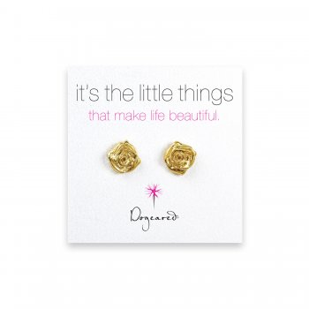 small rose stud earrings, gold dipped
