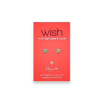 wish teeny stud gold dipped lucky star earrings