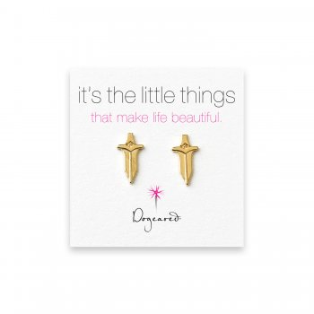 small dagger stud earrings, gold dipped