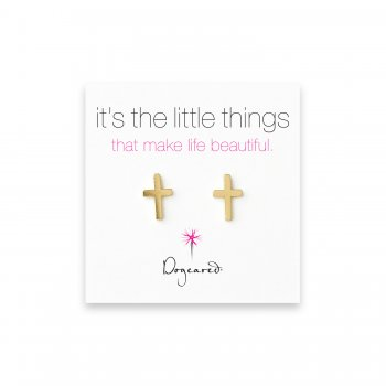 small simple cross stud earrings, gold dipped