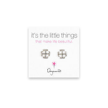 small english cross stud earrings, sterling silver