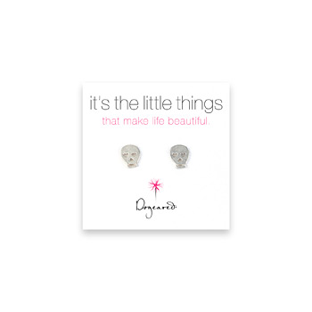 small skull stud earrings, sterling silver