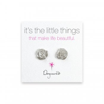 small rose stud earrings, sterling silver