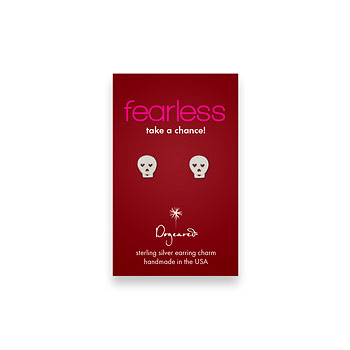 fearless teeny stud sterling silver skull earrings
