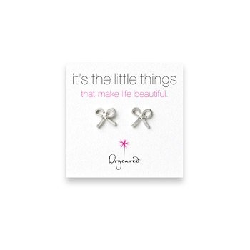 small bow stud earrings, sterling silver