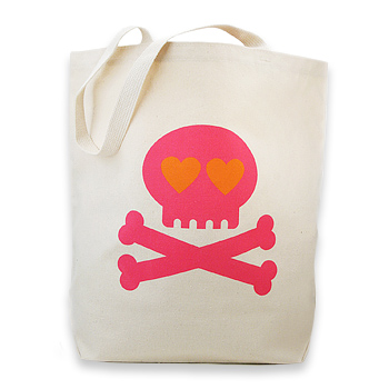 heart skull reusable tote bag