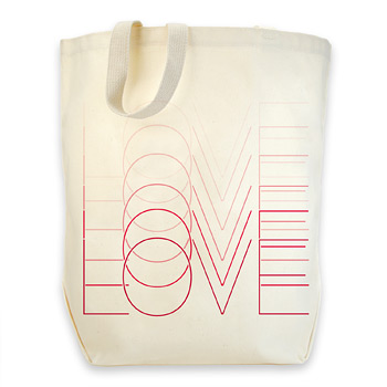 love love love organic cotton canvas big tote bag