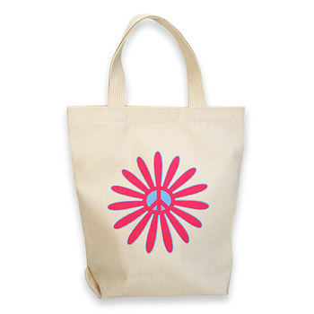 flower power organic tiny tote bag