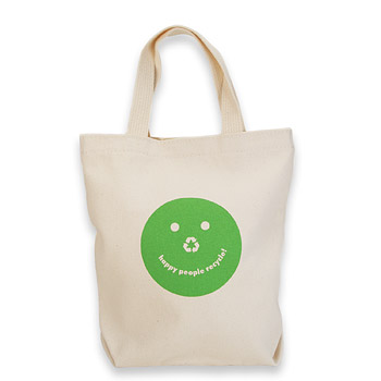 happy people recycle organic tiny tote bag