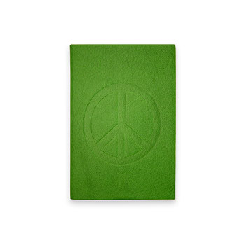 small peace journal with emerald leather
