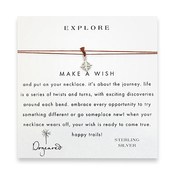 explore make a wish necklace with sterling silver compass on tobacco : Dogeared Jewels and Gifts :  sterling silver make a wish silk thread explore