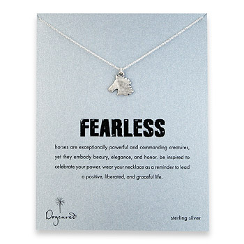 sterling silver fearless necklace with oxidized horse head charm : Dogeared Jewels and Gifts
