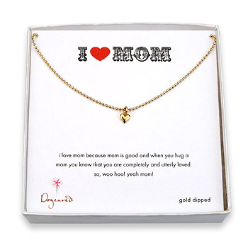 i heart mom gold dipped necklace with cupid heart charm : Dogeared Jewels and Gifts
