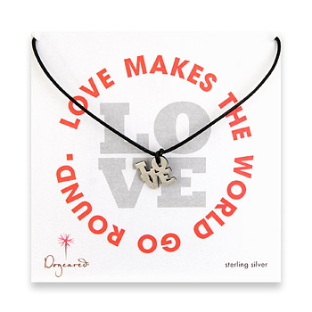 sterling silver love charm necklace on black leather cord : Dogeared Jewels and Gifts
