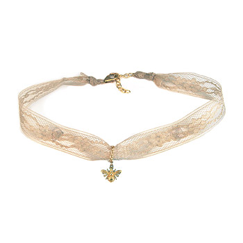 ivory lace choker with gold dipped bee : Dogeared Jewels and Gifts