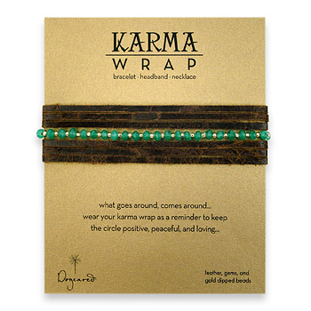 karma wrap earth leather bracelet with emerald jade gems : Dogeared Jewels and Gifts :  necklace dogeared jewels and gifts anklets bracelet