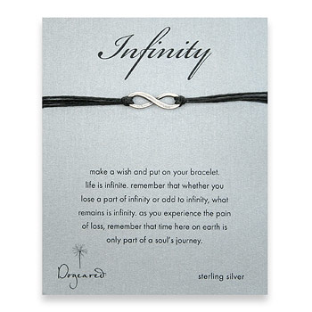 oxidized infinity bracelet on black irish linen : Dogeared Jewels and Gifts