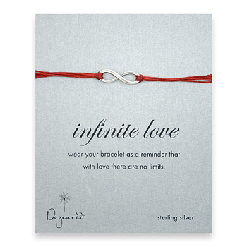 oxidized infinite love bracelet on red irish linen : Dogeared Jewels and Gifts :  dogeared jewels and gifts infinite love red irish linen bracelet