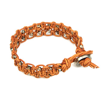large burnt orange leather bangle bracelet with oxidized beads : Dogeared Jewels and Gifts :  dogeared jewels and gifts leather burnt orange bangles
