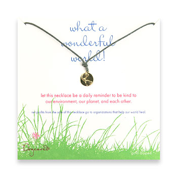 gold  dipped what a wonderful world necklace on moss waxed cotton by Dogeared
