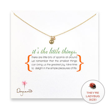 it's the little things gold dipped necklace with peace sign charm : Dogeared Jewels and Gifts