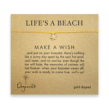life's a beach make a wish bracelet with gold dipped starfish on mustard irish linen : Dogeared Jewels and Gifts