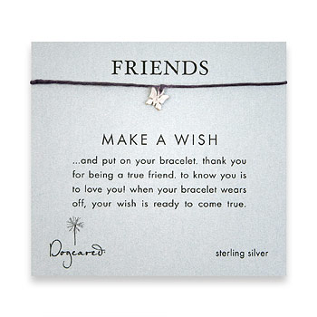 friends make a wish bracelet with sterling silver butterfly on plum irish linen : Dogeared Jewels and Gifts