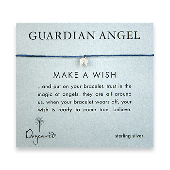 guardian angel make a wish bracelet with sterling silver angel wings on ocean irish linen : Dogeared Jewels and Gifts