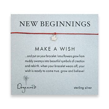 new beginnings make a wish bracelet with sterling silver lotus on red irish linen : Dogeared Jewels and Gifts