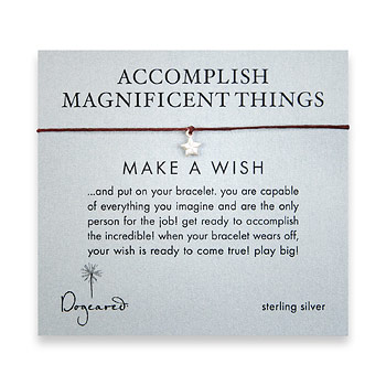 accomplish magnificent things make a wish bracelet with sterling silver lucky star on maroon irish l : Dogeared Jewels and Gifts :  maroon make a wish new essentials message card