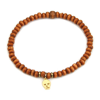 not to worry rust wood bracelet with gold dipped skull : Dogeared Jewels and Gifts