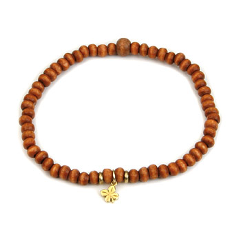 not to worry rust wood bracelet with gold dipped four leaf clover Dogeared Jewels and Gifts from dogeared.com
