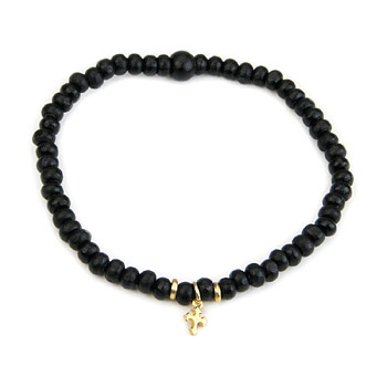 not to worry ebony wood bracelet with gold dipped gothic cross : Dogeared Jewels and Gifts
