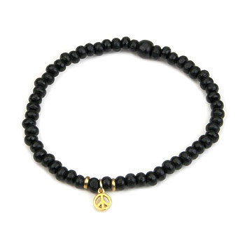 not to worry ebony wood bracelet with gold dipped peace sign : Dogeared Jewels and Gifts