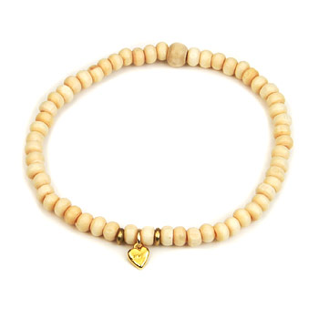 not to worry ivory wood bracelet with gold dipped stone heart : Dogeared Jewels and Gifts