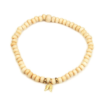not to worry ivory wood bracelet with gold dipped angel wings : Dogeared Jewels and Gifts