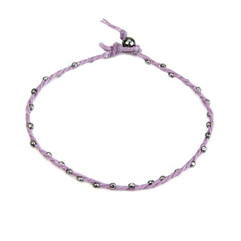 sparkle twisted strand charcoal bracelet on lilac irish linen : Dogeared Jewels and Gifts :  drawstring 7 inch charcoal pouch