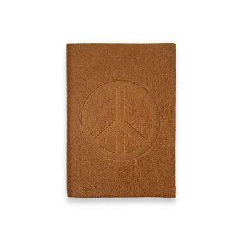 small peace journal with tobacco leather : Dogeared Jewels and Gifts :  recycled tobacco journal peace sign