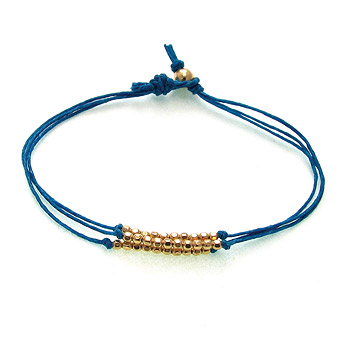 gold dipped sparkle bracelet, teal irish linen : Dogeared Jewels and Gifts