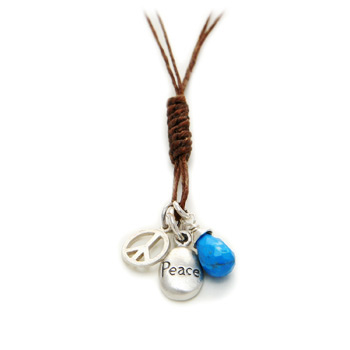 the peace necklace --- peace, peace sign and turquoise