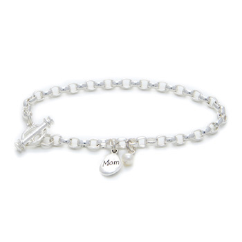 the mom and pearl charm bracelet
