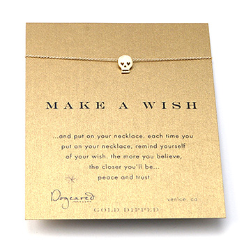 make a wish skull gold dipped reminder necklace